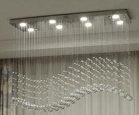 diseño de iluminación contemporánea de cristal al por mayor-Crystal contemporánea del rectángulo de la lámpara gota de lluvia de cristal del techo de luz accesorio de diseño de onda de montaje empotrado Para MYY Comedor