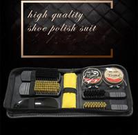 tipos de panelas venda por atacado-Ferramentas Acessórios de Limpeza ousehold sapatos escova portátil preto Neutral sapatos escova polonês Set Professional Tool Care calçado prático Shin ...