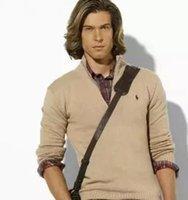 männer v hals polo mode großhandel-neue Ankunftswickjackev-ausschnitt-Polo-Strickjacke, beiläufiger Mantel der Männer Baumwoll, Art und Weisemarke strickte Strickjackehälften Reißverschlussüberbrücker