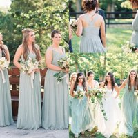 Wholesale lighting beach for sale - Group buy Summer Beach Boho A Line Chiffon Long Bridesmaid Dresses V Neck Ruffles Sexy Low Back Floor Length Maid of Honor Gowns For Weddings