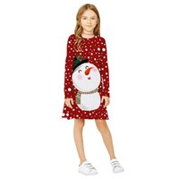 Wholesale american christmas snowmen resale online - Girls Dresses hot style snowman Christmas digital print girl long sleeve round collar dress European and American fashion childrens wear