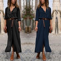Wholesale modern swing resale online - Women Shirt Long Dress Loose Long Sleeves Large Swing Split Collar Irregular Skirt Solid Color Long Skirt