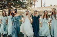 şifon dreses toptan satış-Ucuz Kapalı Omuz Şifon Mumu Uzun Nedime Dreses Ruffles Kat Uzunluk Bohemia Yaz Düğün Konuk Onur Hizmetçi Elbiseler BM0350
