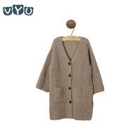 ingrosso cappotto invernale albicocca-VYU Girls Maglione Coat 2018 Autunno e Inverno Scollo a V Bottone lungo Maglione lavorato a maglia Albicocca Cardigan Cappotto Top Outfit