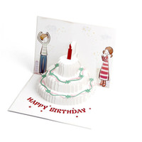 торт ручной работы торт 3d card оптовых-Up Cute Greeting Birthday Card Funny DIY Craft 3D Postcard Color Printing Candle Cake Handmade Modern Style With Envelope