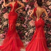 luxus trompete prom kleider großhandel-Elegante rote afrikanische Meerjungfrau Ballkleider lange schiere 2019 formale Schulter Luxus Pailletten arabische Trompete Abendkleider