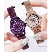 вращение магнита оптовых-360 градусов вращения женские часы сетчатый магнит звездное небо женские часы роскошные модные геометрические кварцевые часы Relogio Feminino