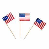 выбирает палочки оптовых-5000 шт. американский США палочки флаг США выбирает партии сэндвич еда Кубок торт коктейль выбирает флаг коктейль палочки деревянные деревянные украшения стола