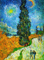 Wholesale painting roads resale online - Vincent Van Gogh Road with Cypresses Home Decor Handpainted HD Print Oil Painting On Canvas Wall Art Canvas Pictures