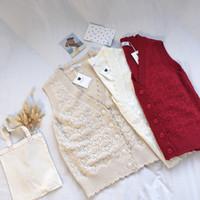 ingrosso maglie rosse di maglione-Ruffle V Neck Beige Maglia lavorata a maglia senza maniche Red White Sweater per la primavera