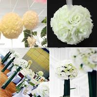 Wholesale flower balls wedding decorations resale online - 20cm Artificial Silk Flower Rose Kissing Balls Bouquet Centerpiece Pomander Party Wedding Centerpiece decorations