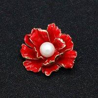 ingrosso regali perla cinese-KingDeng Pearl Spilla cinese Accessori di stile Red Peony regali carini smalto Pins personalizzata di tendenza per le donne Pin del risvolto