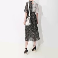 chiffon vestido de festa coreano venda por atacado-2019 mulheres estilo coreano verão preto chiffon dress tie manga curta em cascata plissado lady bonito midi vestidos de festa vestidos f319