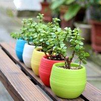 ingrosso vasi da giardino della resina-Fioriere in resina ecologiche Fioriere Home Office Decorazioni per desktop Fiori / Piante verdi da giardino Forniture 5 colori 6A1170
