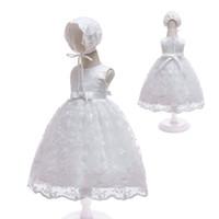 ingrosso cappelli formali da ragazzi-Baby Kids Dress for Girls Tulle in pizzo avorio 1 ° compleanno battesimo vestito da sposa con cappello formale ragazza battesimo