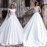 Wholesale simple elegant wedding dress champagne for sale - Group buy New Arrival Off Shoulder A Line Wedding Dresses Simple Elegant Sash Court Train Bridal Gowns Custom Made Formal Dress Gown For Wedding