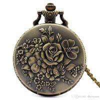 Wholesale pendant carved rose resale online - Copper Women Pocket Watches Beautiful Rose Flower Carving Quartz Movement Fob Watch Dress Pendant Best Gift