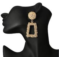 joyería de la borla mexicana al por mayor-Pendientes grandes vintage Color dorado Pendiente de declaración geométrica oreja de metal Colgante de moda joyería de handmake tendencia en stock