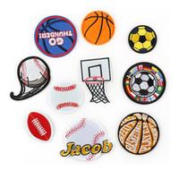 manchas de appliques de esportes venda por atacado-Esporte da bola Patches Bordados em patchwork For Kids Clothes Tecido Etiqueta Shpot Shoes Applique Decoração