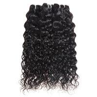 siyah örgü saç uzantıları toptan satış-Brezilyalı Su Dalgası Saç Atkı Doğal Siyah Işlenmemiş İlköğretim Remy İnsan Saç Uzantıları Bakire Saç Tam El Dokuma