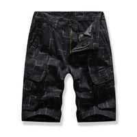plaj pantolon desen toptan satış-HEE BÜYÜK erkek Çok cep Pantolon Yaz Yeni Geometrik Desen Baskı Artı Boyutu Takım Şort Rahat Plaj Pantolon MKD1648
