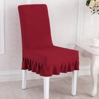 Wholesale chair protectors covers for sale - Group buy Pleated Solid Chair Cover Cloth Seat Protector Solid Elastic Slipcover Simple Hotel Party Home Table Decor LLA292