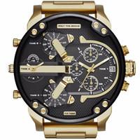 relógio de zona venda por atacado-Alta Qualidade Relógios de Luxo Mens Watch Marca Big Dial Militar Dois Fusos Horários de Quartzo Esporte Relógios de Pulso Presentes Relógio Relogio masculino