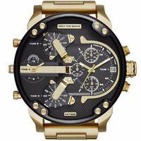ingrosso due orologi da orologio-Orologi da uomo di alta qualità di lusso di marca grande quadrante orologi militari due fuso orario al quarzo Sport orologi da polso orologio regali Relogio Masculino