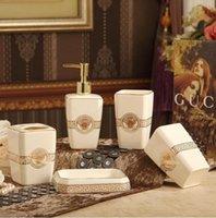 6pcs Noir Salle de bains Accessoires savon Distributeur de brosse de toilette poubelle Rinçage Tasse
