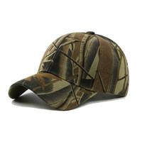 huellas de caza al por mayor-Hombres estampado camuflaje Pesca Caps aire libre de Camo Gorra Sombrero Escalada Caza del desierto Sombreros # 18