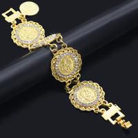 münzencharme armbänder frauen großhandel-Mode Gold Kette Kristall Diamanten Münze Armband Bangle Einstellbar Einfache Armbänder Hip Hop Armband Frau Hochzeit Schmuck