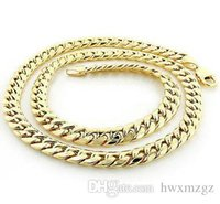 Wholesale lock chains necklaces for sale - Group buy Men s Stylish K YG Silver Miami Cuban Curb Link Lobster Lock Chain