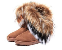 Wholesale rabbit fur high heels fashion resale online - Fashion Rabbit hair and Fox Fur In tube Color matching warm snow winter boots for women ladies Winter Ankle boots
