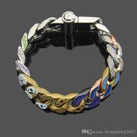 Wholesale printed bracelets for sale - Group buy Hip hop Thick chain men bracelet titanium steel silver four leaf flower pattern luxury designer bracelet with coloured printing hot sale