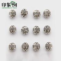 suprimentos de zinco venda por atacado-7 * 8mm estilo Tibetano prata-banhado esculpida bola de pinho Barril liga de zinco beads para fazer jóias diy 752