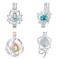 käfig anhänger für perlen großhandel-Mehr Stil für Sie zu wählen-Flower Pearl Cage Beads Cage Ätherisches Öl Diffusor Medaillon Cage Anhänger DIY Anhänger