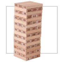 jogos empilhados venda por atacado-54 PCS Placa De Empilhamento De Madeira Matemática Jogo Tumble Tower Building Block Fun Novidade Engraçado Brinquedos Interessantes Para As Crianças Presente De Aniversário