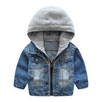 chaqueta de mezclilla 5t niños al por mayor-Venta al por menor muchachas de los muchachos ocasionales del remiendo de la chaqueta de mezclilla capa capas de lujo chaquetas niños Winther diseñador de moda outwear los niños boutique de ropa
