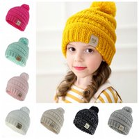 Wholesale baby boy winter cap designs resale online - 2019 new design baby girls boys crochet caps children fashion beanies solid pure candy colorpompom hats winter warm accessories