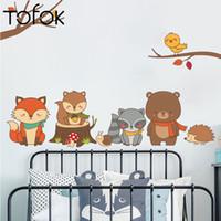 наклейки для детских яслей для лесных животных оптовых-Tofok Cartoon Forest Animals Wall Sticker For Kids Room Nursery Squirrel  Wall Decal Removable  Art Mural DIY Home Decor