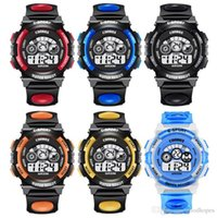 Wholesale red child watch resale online - Fashion Children Watch Boys Girls LED Digital Electronic Wrist Watch Kids Luminous Alarm Clock Calendar Water resistant Watches