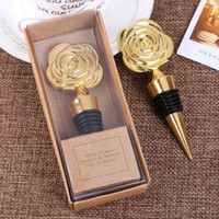 Wholesale giveaways box resale online - Gold Rose Wine Stoppers with Gift Boxes Rose Flowers Wine Bottle Stopper Wedding Giveaways Party Favors gift For Guests FFA3169