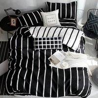 super king juegos de cama edredón al por mayor-4 piezas de lujo consolador Sistemas del lecho del patrón geométrico Ropa de cama de poliéster funda nórdica / hoja de cama de algodón cubierta de almohada Juego de cama