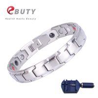 heilende armbänder für männer großhandel-EBUTY Elegantes Armband Edelstahl für Männer Gesundheit Modeschmuck Armbänder Armband Magnet FIR Healing Bangle Geschenk
