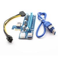 cabo led sata venda por atacado-USB3.0 PCI-E1X para 16X Extender placa riser cabo adaptador SATA 15 pinos-6 pinos USB 3.0 60 centímetros cabo de alimentação com LED