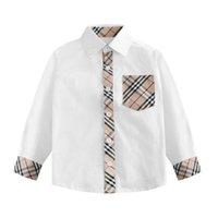 ingrosso camicia bianca stampata per i bambini-Camicie per bambini stampate in plaid di moda Camicie in morbido cotone traspiranti per ragazzo Camicie bianche di alta qualità in stile inglese