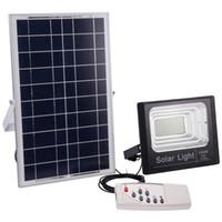 panel de luz led w al por mayor-Proyector solar IP67 120W 100W 50W 30W 20W 10W 80-90LM / W Batería del panel de la celda de energía Exterior Impermeable Lámparas industriales Luces Control remoto