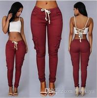 soporte de cintura blanca al por mayor-2019 Moda europea color simple Cintura alta delgada Cinturón multibolsillo Pantalón Pies Pantalones Blanco, rojo, verde, negro Soporte mixto