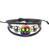 Wholesale time chains resale online - Diy Alloy Gay Pride Chain Bracelets Rainbow Time Glass Gemstone Bracelet Love Equality Hot Selling With Various Pattern xs J1