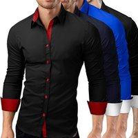 paçavra gömleği toptan satış-Düz renk placket erkek uzun kollu spor gömlek iş gömlek Erkekler colorblock İş Moda Gömlek